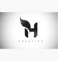 H letter wings logo design with black bird fly vector