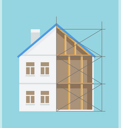Half built house interior and exterior vector