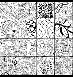 hand drawn zentangle background for coloring page vector image