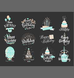 happy birthday badge set vector image