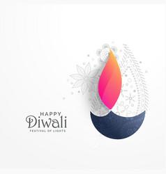 Happy diwali holiday greeting card with paisley vector