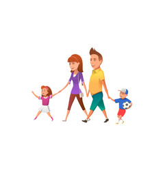 happy family walking together vector image