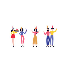 happy men women in party hat set vector image