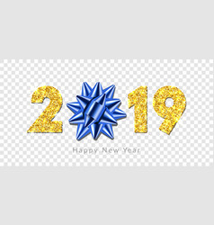 happy new year card 3d gift blue ribbon bow gold vector image