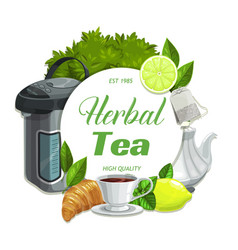 herbal tea with lemon and mint leaves flavor vector image