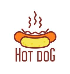 Hot dog icon - street food emblem with hotdog vector