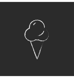 Ice cream icon drawn in chalk vector image