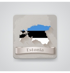 Icon of Estonia map with flag vector image