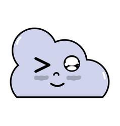 Kawaii cute funny cloud weather vector