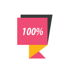 label hundred percent pink yellow black vector image vector image