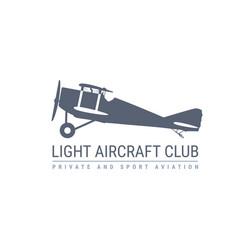 light aviation emblem with retro airplane biplane vector image