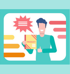 male promoting product holding book in hand tv vector image