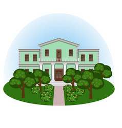 Manor house in summer landscape vector