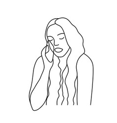 minimalism hand drawn female portrait in modern vector image
