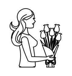 mother woman flower bouquet celebration line vector image