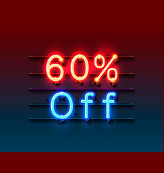 neon frame 60 off text banner night sign board vector image