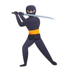 Ninja with sword icon cartoon style vector