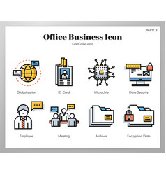 Office business icons linecolor pack vector