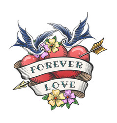 old school tattoo with swallows and hearts vector image