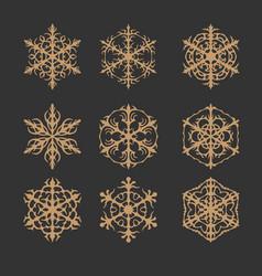 Ornaments set and vintage flower image vector