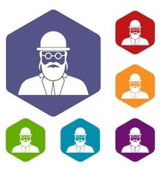 Orthodox jew icons set vector