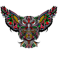 Owl with open wings and claws owl drawn in vector