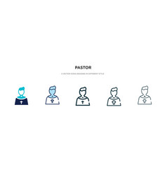 Pastor icon in different style two colored and vector