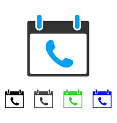 Phone calendar day flat icon vector