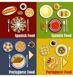 Portuguese and spanish national cuisine vector
