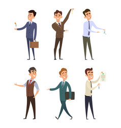 real estate agents selling different buildings vector image