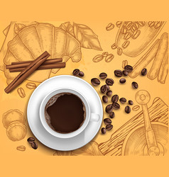 Realistic coffee cup on handdrawn vector