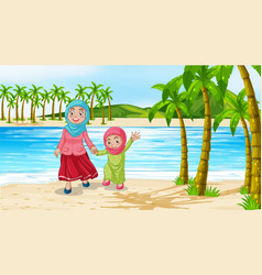 Scene with mother and daughter on beach vector