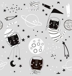 seamless childish pattern with cat astonauts vector image