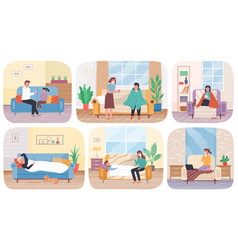 Set about home treatment people vector