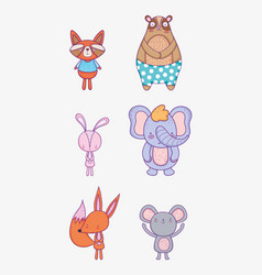 Set cute natural wild animals vector