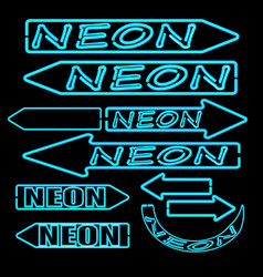 set of neon arrows signposts isolated on black vector image