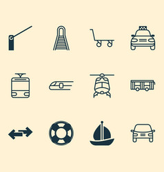 shipping icons set with tram taxi train and vector image