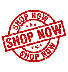 shop now round red grunge stamp vector image