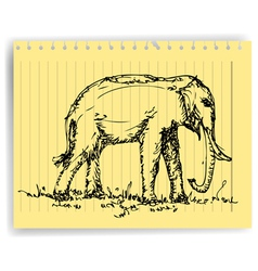 sketch drawing elephanton lined paper page vector image
