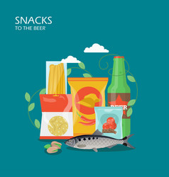 snacks to the beer flat style design vector image
