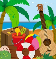 Summer theme with toys and guitar vector image