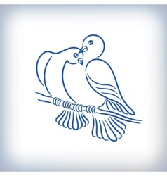 Symbol of two lovely pigeons vector image