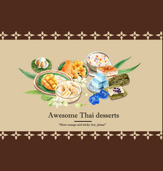 Thai sweet frame design with sticky rice sweets vector