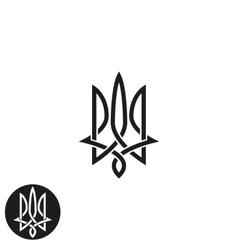 Trident logo monogram Ukraine emblem print mockup vector