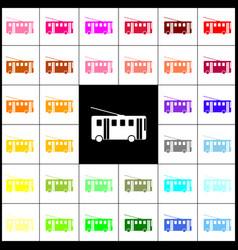 Trolleybus sign felt-pen 33 colorful vector
