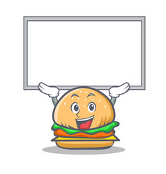 up burger character fast food with board vector image