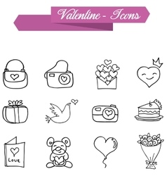 Valentine element of icons with hand draw vector