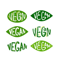 vegan green logos set vector image