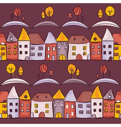 Village seamless pattern vector image