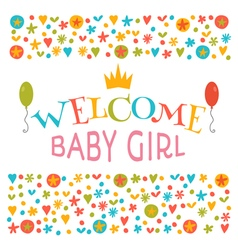 Welcome baby girl baby girl shower card vector